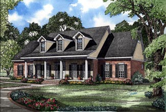Colonial Country Southern Elevation of Plan 61017
