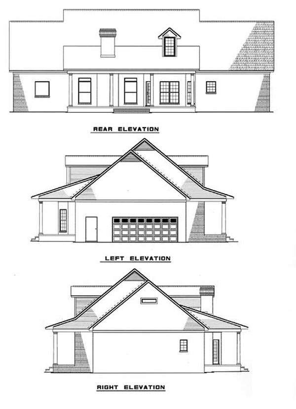 Colonial , Country , Southern , Rear Elevation of Plan 61017