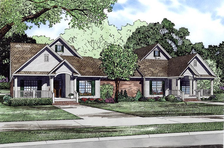 Bungalow European Traditional Multi-Family Plan 61018 Elevation