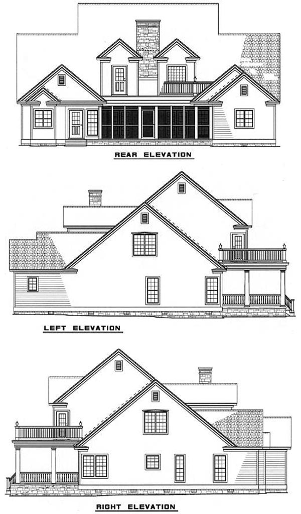 Country Southern House Plan 61020 Rear Elevation