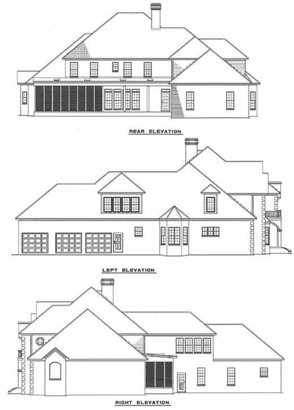 European Traditional House Plan 61021 Rear Elevation