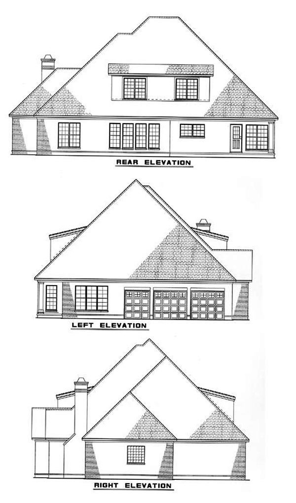 European House Plan 61023 Rear Elevation