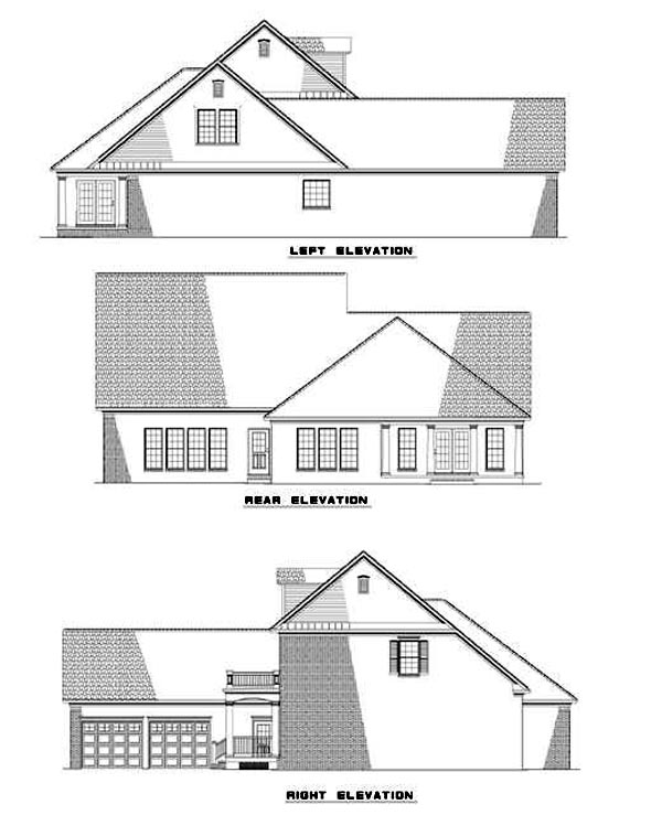 Coastal Colonial House Plan 61024 Rear Elevation