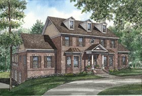 House Plan 61025 | Colonial, Southern Style House Plan with 4155 Sq Ft, 5 Bed, 4 Bath, 3 Car Garage Elevation