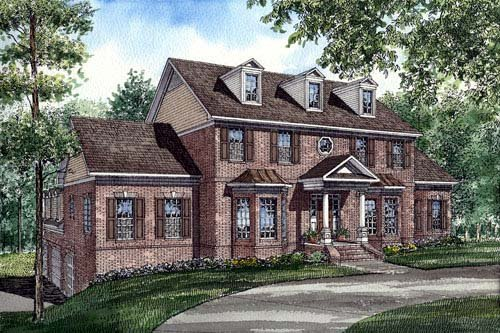 Colonial , Southern House Plan 61025 with 5 Beds, 4 Baths, 3 Car Garage Elevation