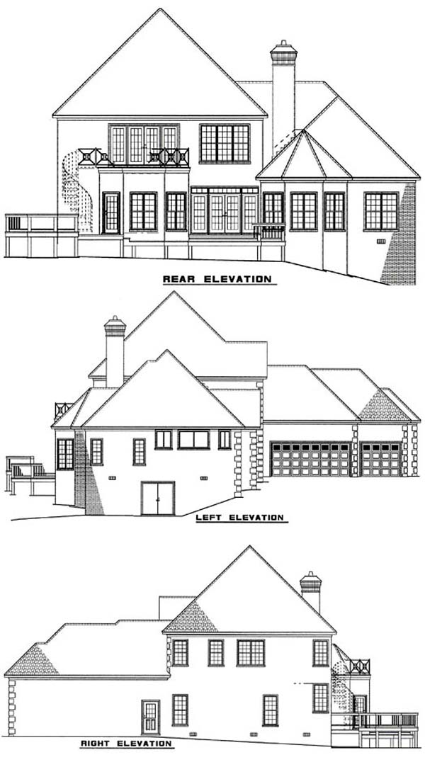 European House Plan 61026 Rear Elevation