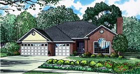 European House Plan 61030 with 3 Beds, 3 Baths, 3 Car Garage Elevation