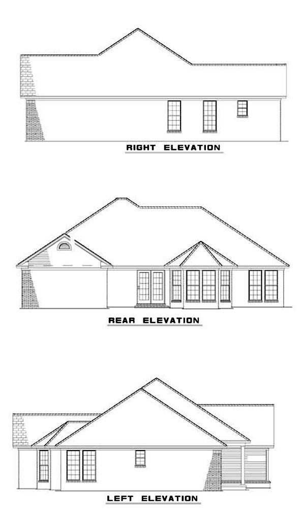 European House Plan 61032 Rear Elevation