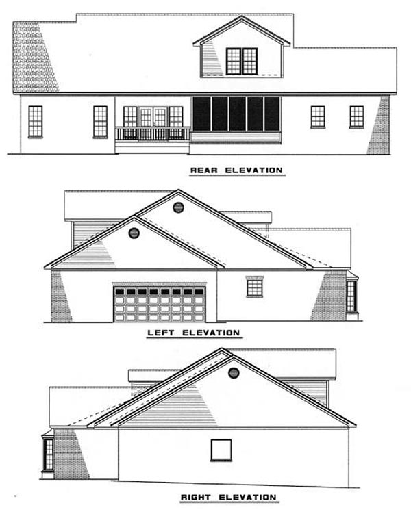 Traditional House Plan 61036 Rear Elevation