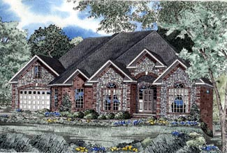 European House Plan 61037 with 3 Beds, 3 Baths, 2 Car Garage Elevation