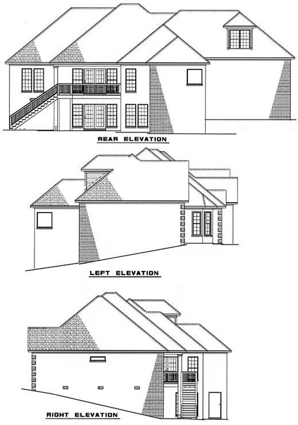 European House Plan 61037 with 3 Beds, 3 Baths, 2 Car Garage Rear Elevation