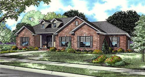 European, Traditional House Plan 61039 with 4 Beds, 3 Baths, 3 Car Garage Elevation