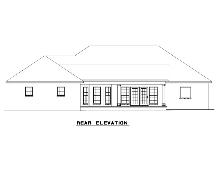 European, Traditional House Plan 61039 with 4 Beds, 3 Baths, 3 Car Garage Rear Elevation