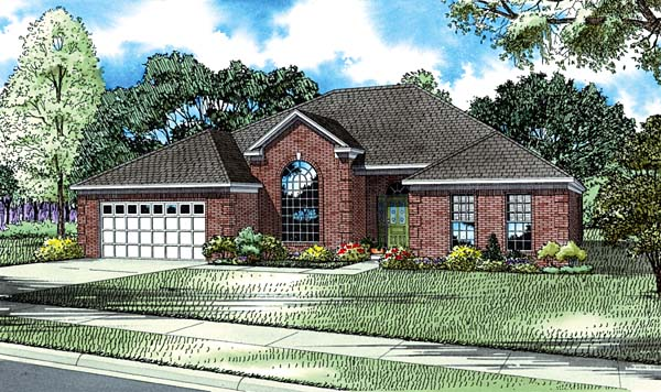 European House Plan 61040 with 4 Beds, 2 Baths, 2 Car Garage Elevation