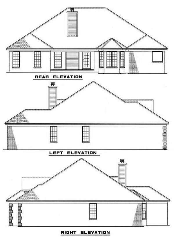 European House Plan 61040 with 4 Beds, 2 Baths, 2 Car Garage Rear Elevation