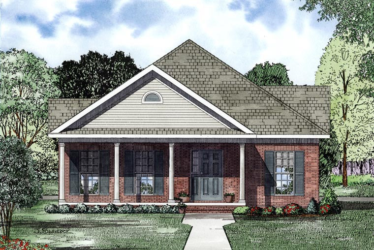 Cape Cod, Country, Southern House Plan 61041 with 2 Beds, 2 Baths, 2 Car Garage Picture 1