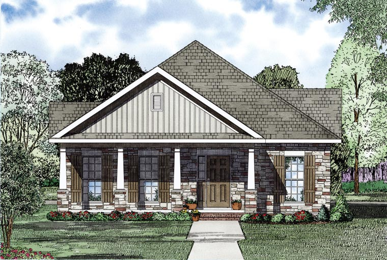 Cape Cod, Country, Southern House Plan 61041 with 2 Beds, 2 Baths, 2 Car Garage Picture 2