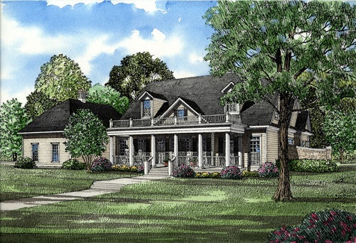 Colonial, Southern House Plan 61042 with 4 Beds , 5 Baths , 3 Car Garage Elevation
