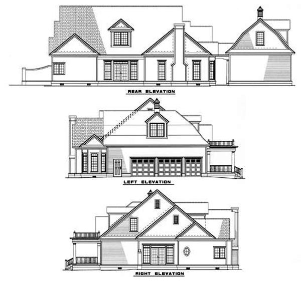 Colonial, Southern House Plan 61042 with 4 Beds , 5 Baths , 3 Car Garage Rear Elevation