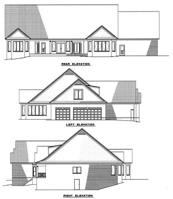 Country, Southern House Plan 61049 with 3 Beds, 2 Baths, 3 Car Garage Rear Elevation