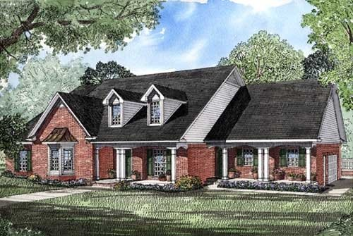 Country, Southern House Plan 61052 with 4 Beds, 4 Baths, 2 Car Garage Elevation