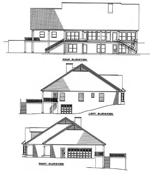 Country, Southern House Plan 61052 with 4 Beds, 4 Baths, 2 Car Garage Rear Elevation