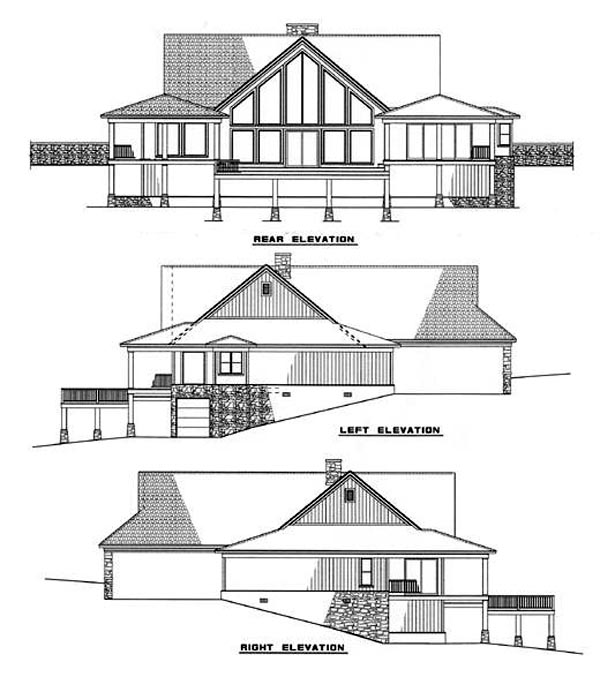 Contemporary House Plan 61054 Rear Elevation