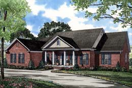 Colonial, Country, Southern House Plan 61055 with 3 Beds, 4 Baths Front Elevation