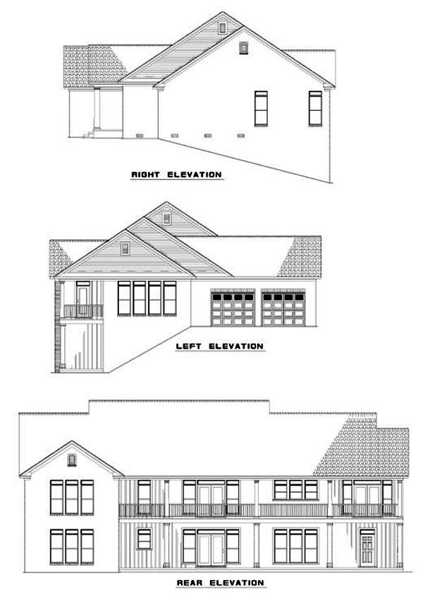 Colonial, Country, Southern House Plan 61055 with 3 Beds, 4 Baths Rear Elevation
