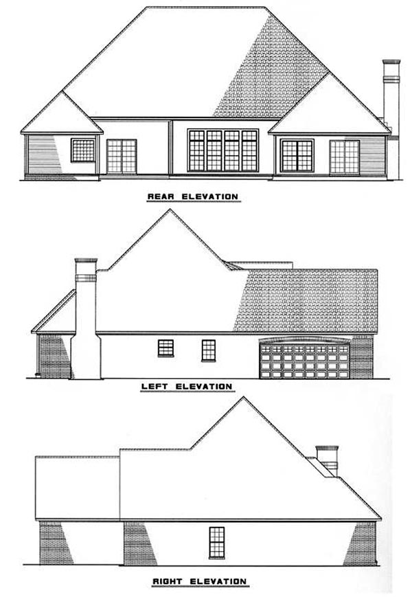 European Southern Traditional House Plan 61056 Rear Elevation