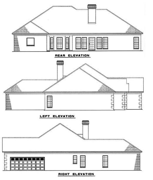 European Traditional House Plan 61057 Rear Elevation