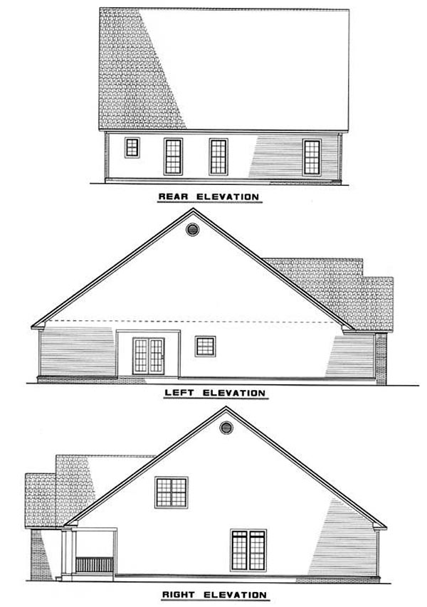 Country Rear Elevation of Plan 61058