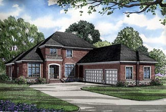 European House Plan 61059 with 4 Beds, 4 Baths, 3 Car Garage Elevation