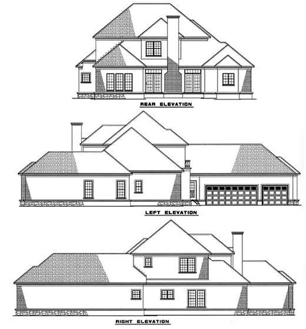 European House Plan 61059 with 4 Beds, 4 Baths, 3 Car Garage Rear Elevation