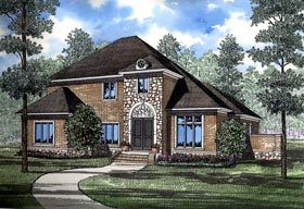 House Plan 61060 | Contemporary, European Style House Plan with 3623 Sq Ft, 3 Bed, 4 Bath, 3 Car Garage Elevation
