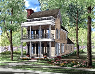 Colonial, Narrow Lot, Southern House Plan 61061 with 3 Beds, 3 Baths, 2 Car Garage Front Elevation