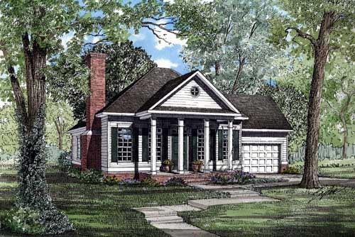 Colonial, One-Story, Southern House Plan 61062 with 3 Beds, 2 Baths, 2 Car Garage Elevation