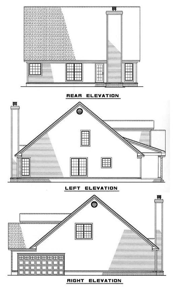 Cape Cod Traditional Rear Elevation of Plan 61063