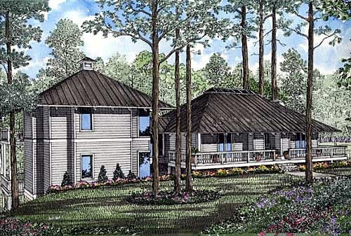 Country, Southern House Plan 61066 with 2 Beds, 3 Baths Elevation