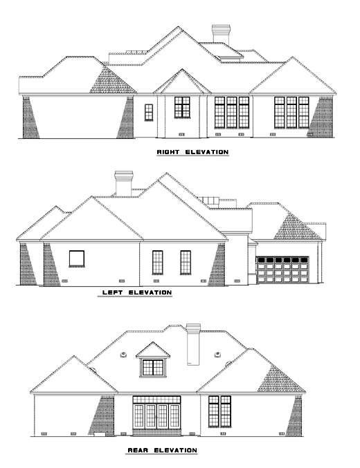 Contemporary, Southern House Plan 61068 with 3 Beds, 5 Baths, 2 Car Garage Rear Elevation