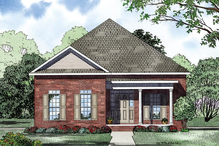 European, Traditional House Plan 61069 with 3 Beds, 2 Baths, 2 Car Garage Picture 1