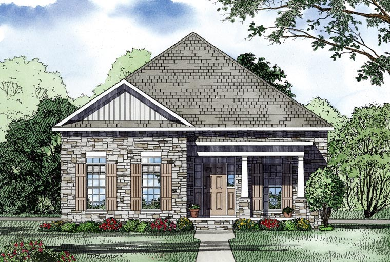 European, Traditional House Plan 61069 with 3 Beds, 2 Baths, 2 Car Garage Picture 2