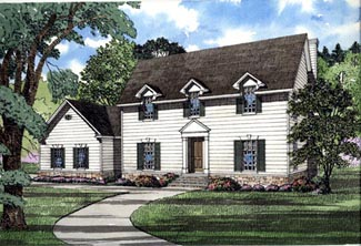 Colonial, Southern House Plan 61070 with 4 Beds, 4 Baths, 3 Car Garage Elevation