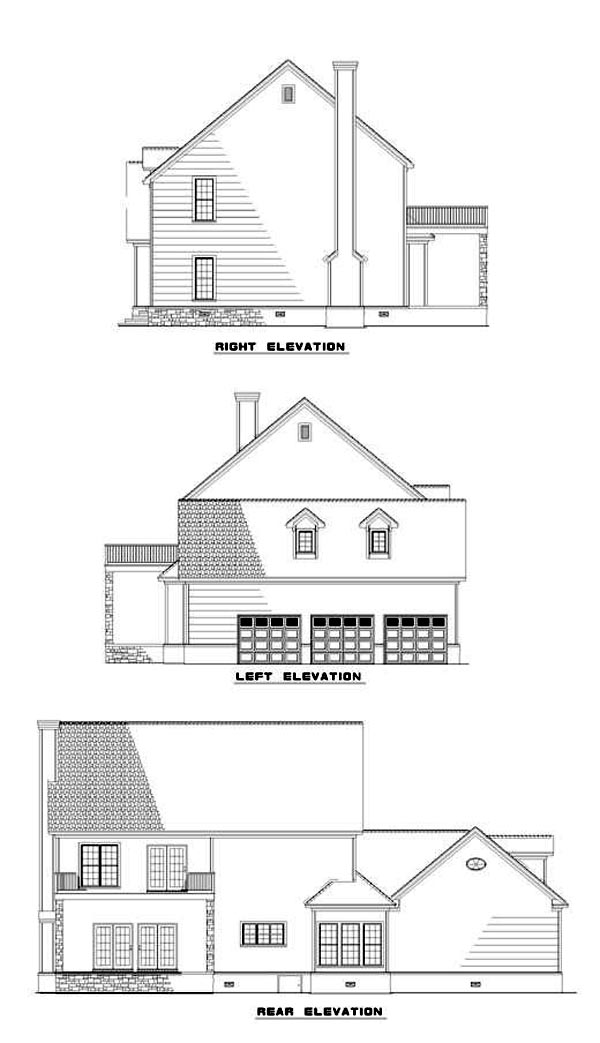 Colonial, Southern House Plan 61070 with 4 Beds, 4 Baths, 3 Car Garage Rear Elevation
