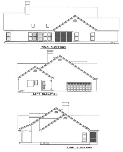 Colonial Southern Rear Elevation of Plan 61072