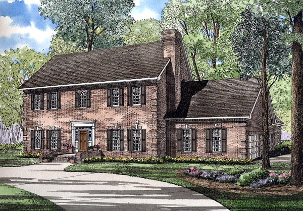 Colonial Southern House Plan 61077 Elevation