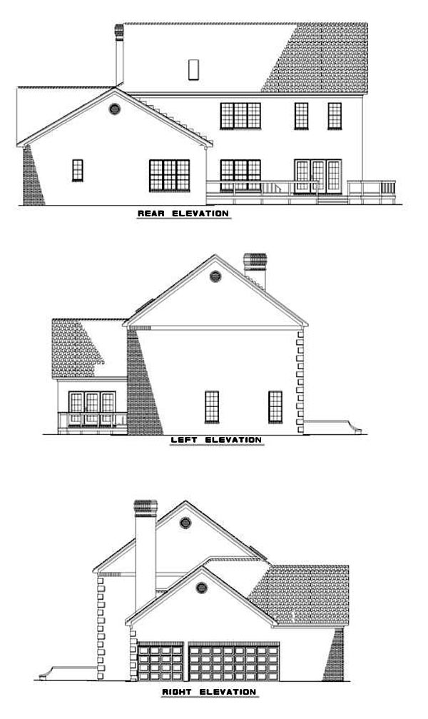 Colonial Southern House Plan 61077 Rear Elevation