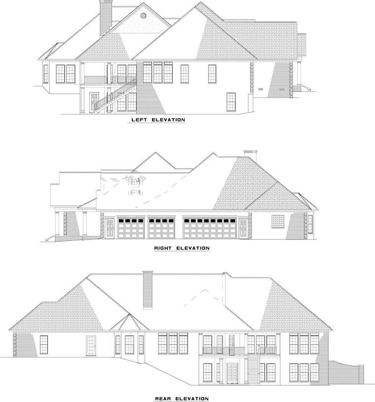 European Traditional House Plan 61079 Rear Elevation