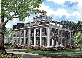 Colonial Plantation Southern House Plan 61080 Elevation