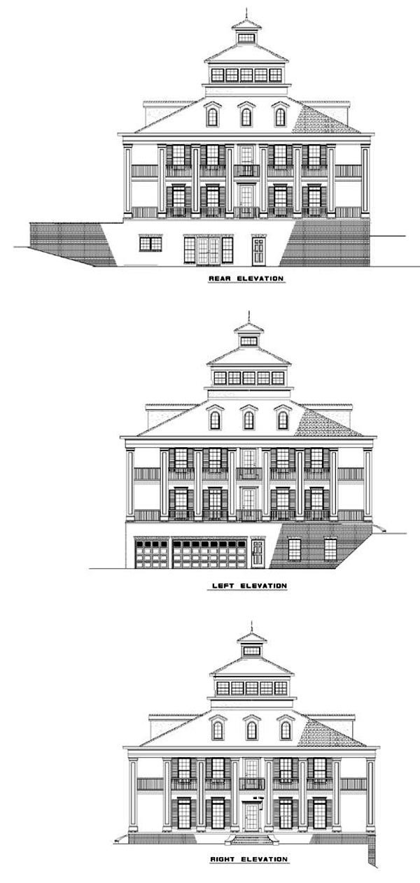 Colonial Plantation Southern House Plan 61080 Rear Elevation